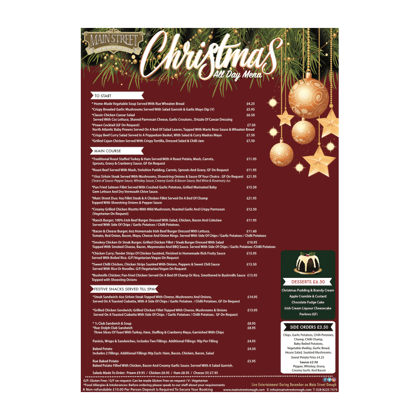 main street omagh chrismtas all day menu