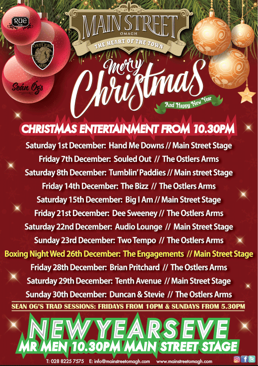 main street omagh chrismtas gigs 2018