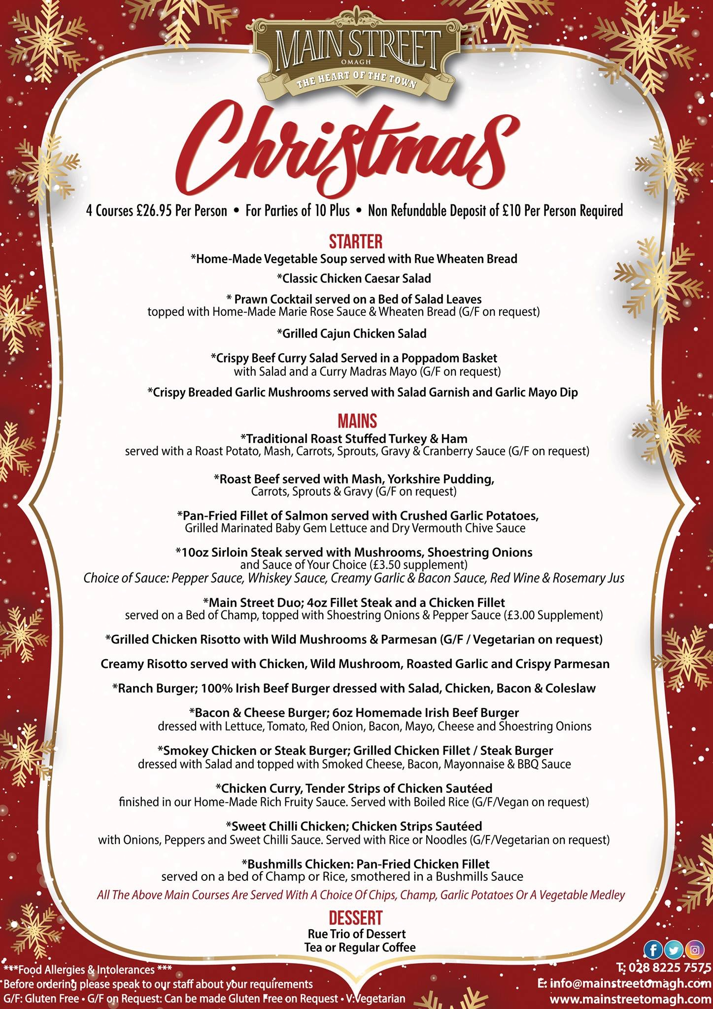main street christmas set menu